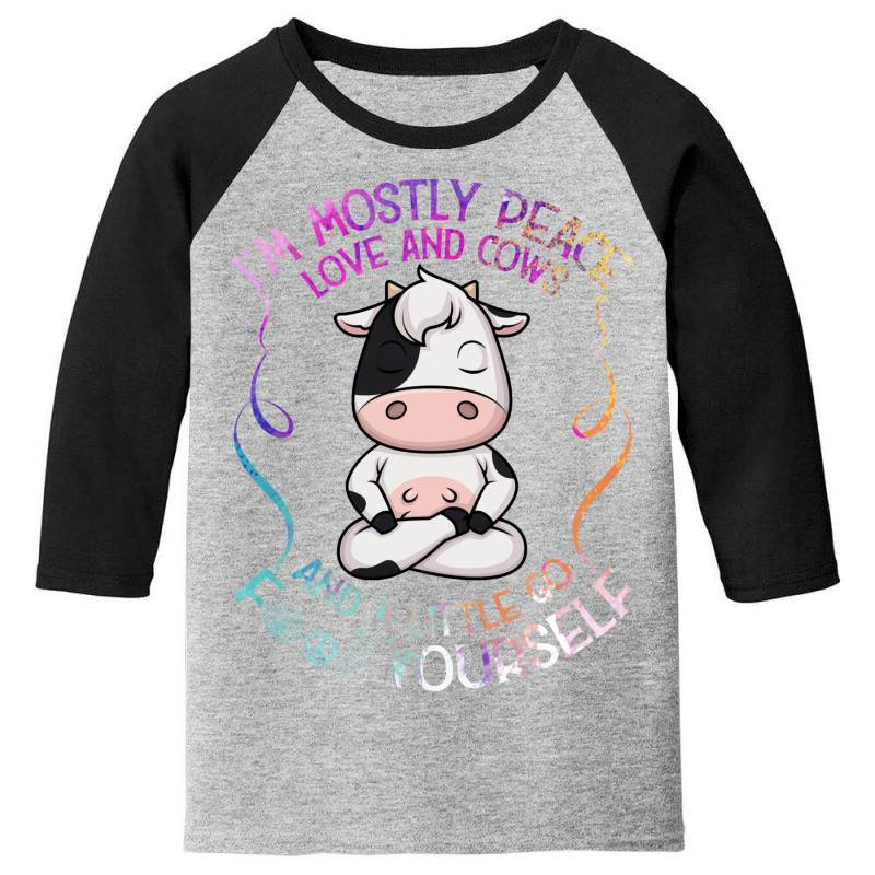 I M Mostly Peace Love And Cows Youth 3/4 Sleeve | Artistshot