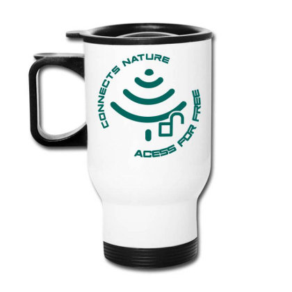 Connecting To Nature Acess For Free Travel Mug Designed By Marconigg