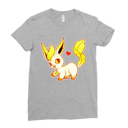 Chibi Leafeon Ladies Fitted T-shirt Designed By Lotus Fashion Realm