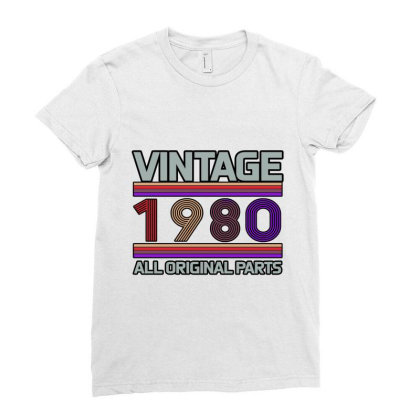 Vintage 1980 Birthday Ladies Fitted T-shirt Designed By Bettercallsaul