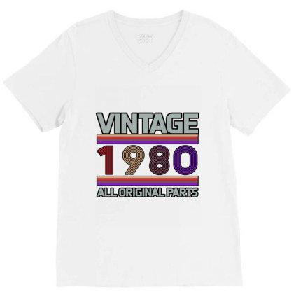 Vintage 1980 Birthday V-neck Tee Designed By Bettercallsaul