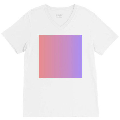 Pink And Purple Colour Combination Art V-neck Tee Designed By American Choice