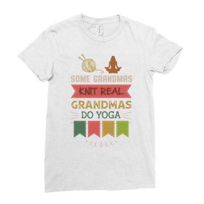Hobby Yarn Some Grandmas Knit Real Grandmas Do Yoga Ladies Fitted T-shirt Designed By Vip.pro123