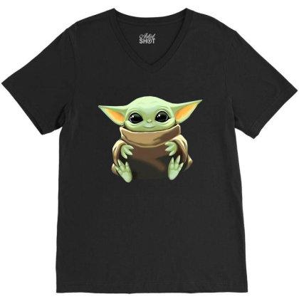 Baby Yoda V-neck Tee Designed By Kakashop