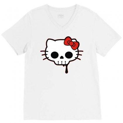 Skull Kitty V-neck Tee Designed By Denz