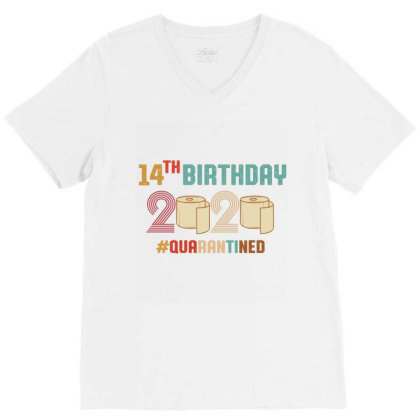 14th Birthday Quarantine Retro Vintage V-neck Tee Designed By Vip.pro123