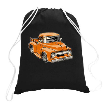 1956 F100 Pickup Truck Cartoon Drawstring Bags Designed By H4ikal