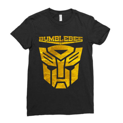 Golden Bumblebee Transformer Ladies Fitted T-shirt Designed By Feelgood Tees