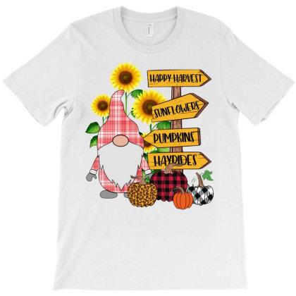 Gnome Pumpkins Sunflowers Fall T-shirt Designed By Badaudesign