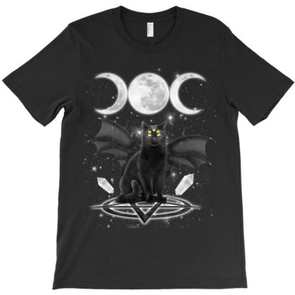 Triple Moon Black Cat Pagan Witch Wicca Wiccan Graphic Haloween Gift T-shirt Designed By Love Shiga