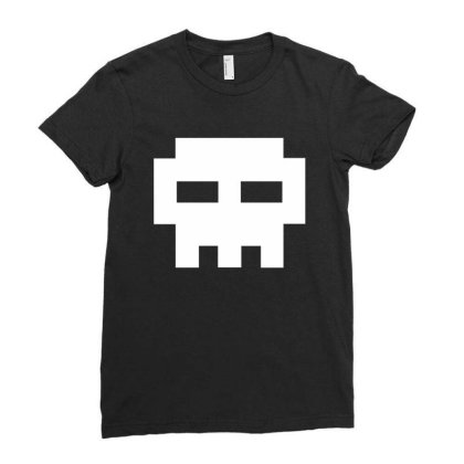 8 Bit Skull Ladies Fitted T-shirt Designed By Judetee