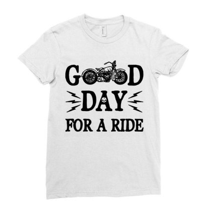 Motorcycle T Shirt Vintage Good Day For A Ride Cool Motorcycle Shirts Ladies Fitted T-shirt Designed By G3ry