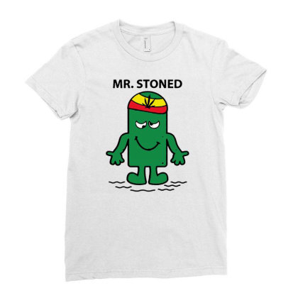 Mr Stoned Weed Cannabis Marijuana Smokers Gift Unisex Funny Parody T S Ladies Fitted T-shirt Designed By G3ry