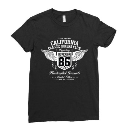 California Bikers Club Ladies Fitted T-shirt Designed By Disgus_thing