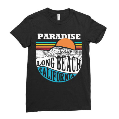 Paradise Beach Ladies Fitted T-shirt Designed By Designtees