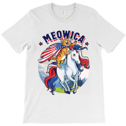 Meowica Cat Ridding Unicorn T-shirt Designed By Feelgood Tees