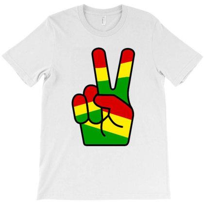 Rastafari Reggae V Sign Peace Symbols T-shirt Designed By Marley Tees