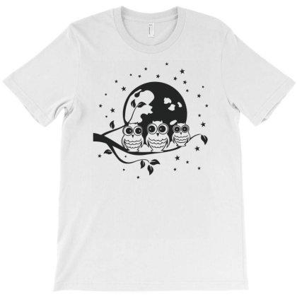 Owl Night Moon Funny T-shirt Designed By Rusmashirt