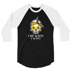 i do what i want skull sunflower 3/4 Sleeve Shirt   Artistshot