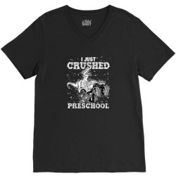 kids i just crushed preschool dinosaur t rex gaming monster truck V-Neck Tee | Artistshot