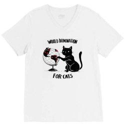world domination for cats V-Neck Tee | Artistshot