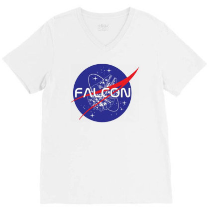 Falcon Space Agency V-neck Tee Designed By Gotthis Tees