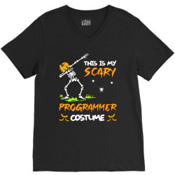 this is my scary programmer costume dabbing skeleton pumpkin halloween V-Neck Tee | Artistshot