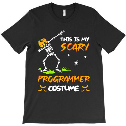 This Is My Scary Programmer Costume Dabbing Skeleton Pumpkin Halloween T-shirt Designed By Woko Art