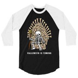 funny halloween skeleton bones throne 3/4 Sleeve Shirt | Artistshot