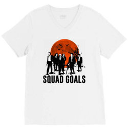 funny halloween squad goals horror characters moon V-Neck Tee | Artistshot