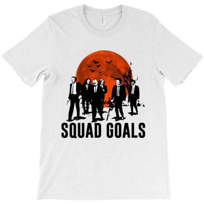 Funny Halloween Squad Goals Horror Characters Moon T-shirt Designed By Woko Art