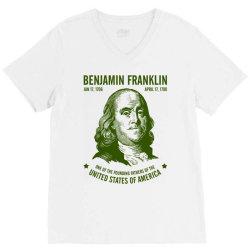 benjamin franklin united states america V-Neck Tee | Artistshot
