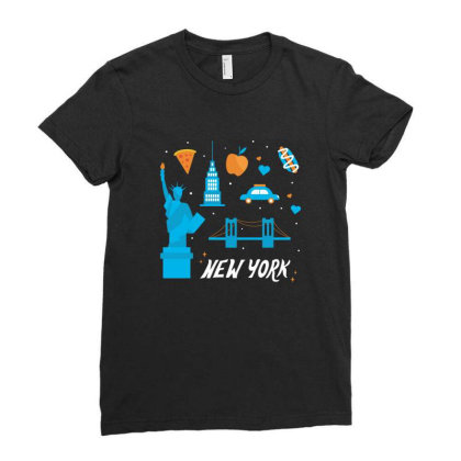 New York City, America, Usa Ladies Fitted T-shirt Designed By Estore