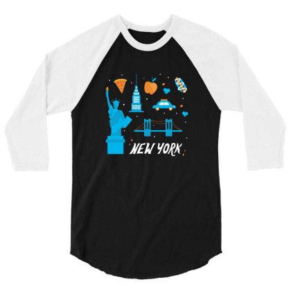 New York City, America, Usa 3/4 Sleeve Shirt Designed By Estore