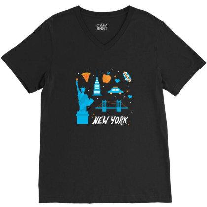 New York City, America, Usa V-neck Tee Designed By Estore
