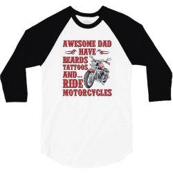 funny beard awesome dad beard tattoos and motorcycles 3/4 Sleeve Shirt | Artistshot