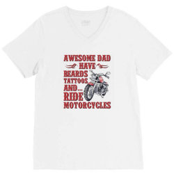 funny beard awesome dad beard tattoos and motorcycles V-Neck Tee | Artistshot