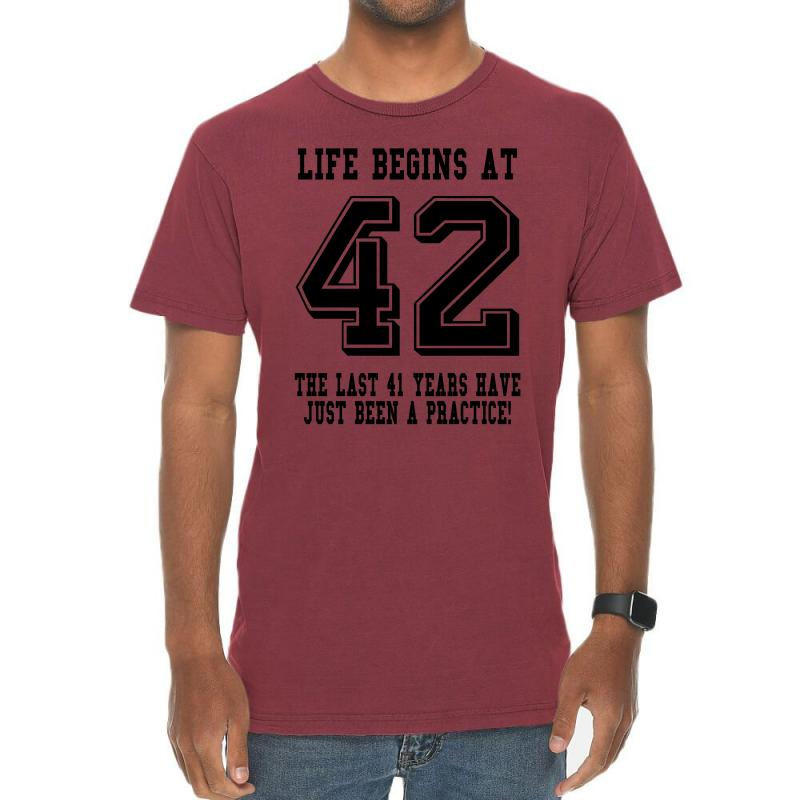 42nd Birthday Life Begins At 42 Vintage T-shirt | Artistshot