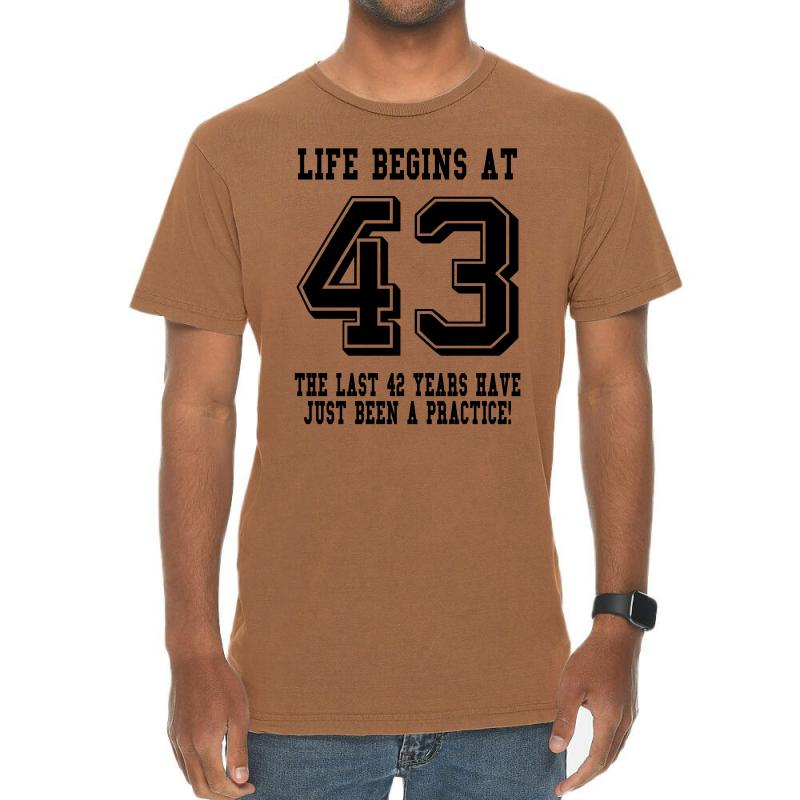 43rd Birthday Life Begins At 43 Vintage T-shirt | Artistshot