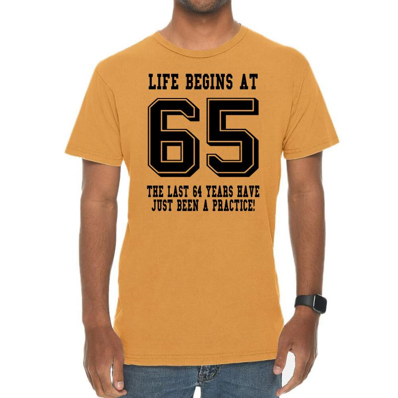 65th Birthday Life Begins At 65 Vintage T-shirt | Artistshot
