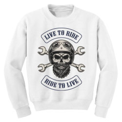 Live to ride, Ride to live, Motorcycles, Skull Youth Sweatshirt | Artistshot