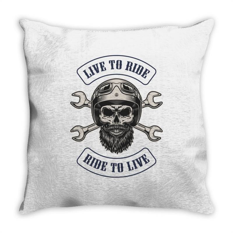 Live To Ride, Ride To Live, Motorcycles, Skull Throw Pillow | Artistshot