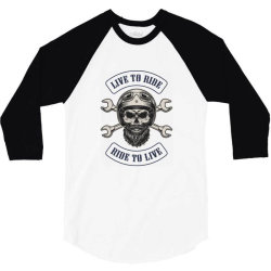 Live to ride, Ride to live, Motorcycles, Skull 3/4 Sleeve Shirt | Artistshot