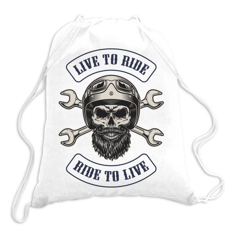 Live To Ride, Ride To Live, Motorcycles, Skull Drawstring Bags | Artistshot