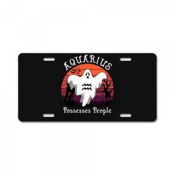 Vintage Ghost Zodiac Aquarius Funny Halloween Gift License Plate   Artistshot