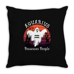 Vintage Ghost Zodiac Aquarius Funny Halloween Gift Throw Pillow | Artistshot