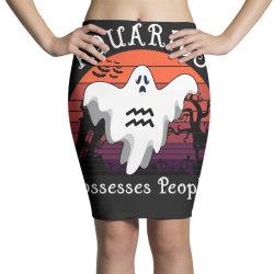 Vintage Ghost Zodiac Aquarius Funny Halloween Gift Pencil Skirts | Artistshot