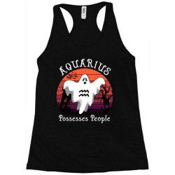 Vintage Ghost Zodiac Aquarius Funny Halloween Gift Racerback Tank | Artistshot