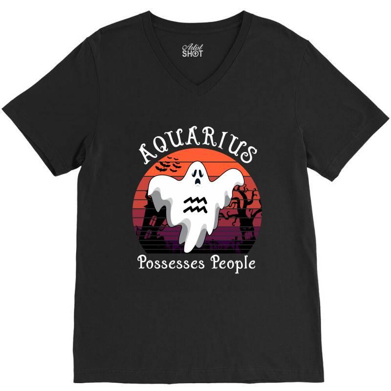 Vintage Ghost Zodiac Aquarius Funny Halloween Gift V-neck Tee   Artistshot