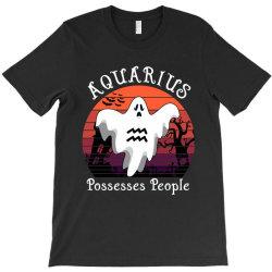 Vintage Ghost Zodiac Aquarius Funny Halloween Gift T-Shirt | Artistshot